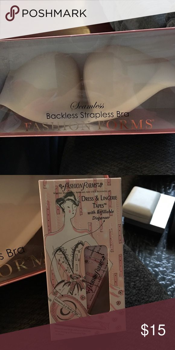 Backless/strapless bra and dress tape New in box seamless backless strapless bra nude size C. Also selling dress/lingerie tapes. Other
