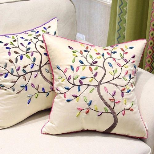 Bordado Jacquard el árbol de vida imitó la tela de seda decorativo almohada almohada caso de Pillowslip funda de almohada cojín