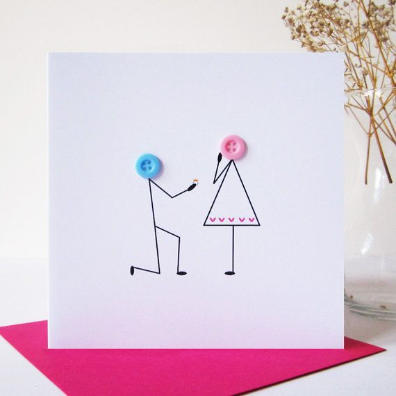 Marriage Proposal Card -  Engagement Card - Romantic Button People Card - Valentines Card