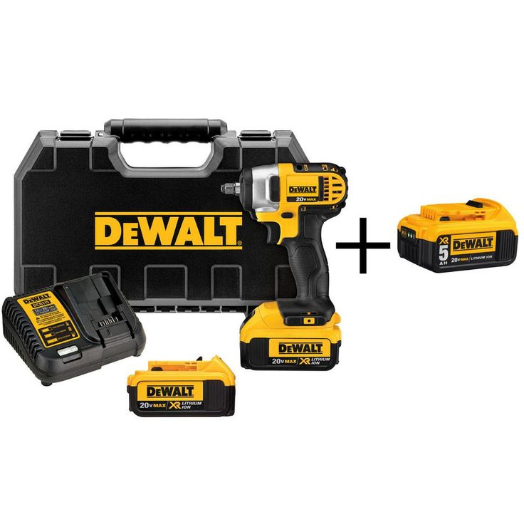 DEWALT 20-Volt MAX Lithium-Ion 3/8 in. Cordless Impact Wrench Kit with Bonus Battery Pack