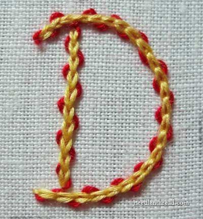 Ponto de cadeia usada em bordados à mão