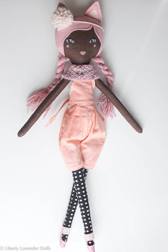 Handmade Cloth Doll Halloween Cat Girl About 21 inches tall
