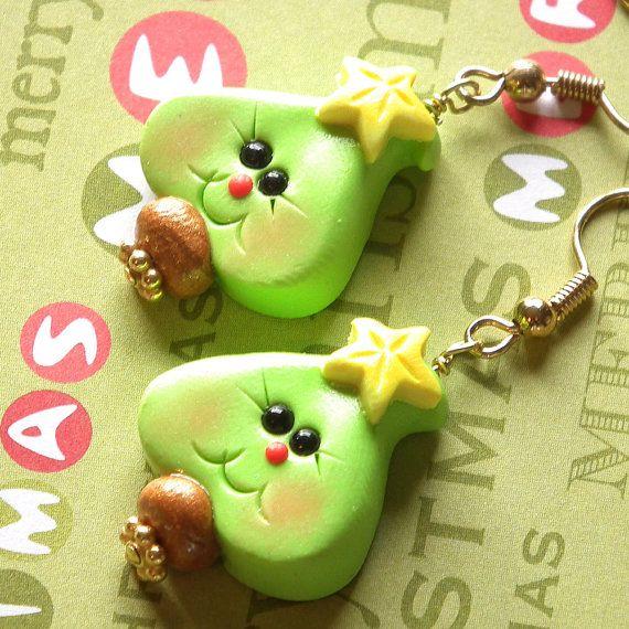 Christmas Earrings Polymer Clay Green Christmas