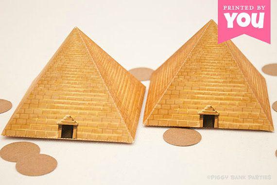 Egyptian Pyramid Favor Box : DIY Printable Pharaoh Tomb PDF - Instant Download