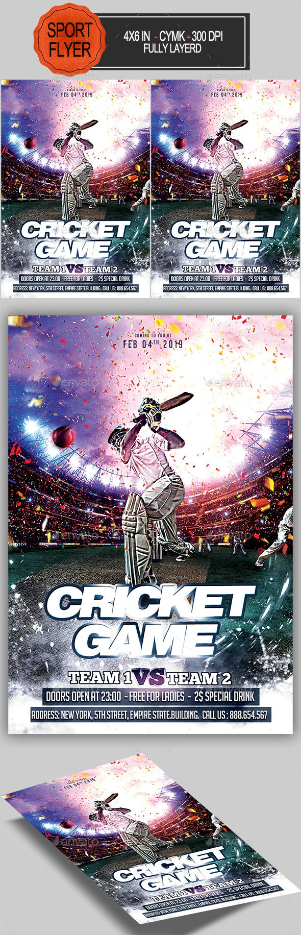 Cricket Game Flyer
