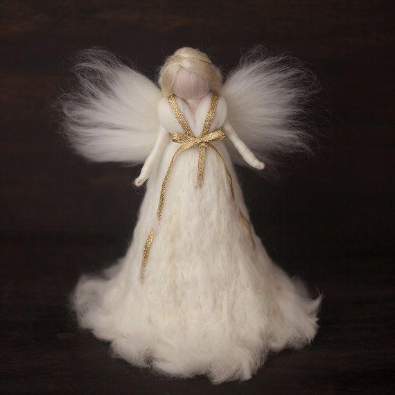 Needle Felted Large Tree topper Angel White-Silk, Christmas tree Angel  ornament  by FeltandGrain