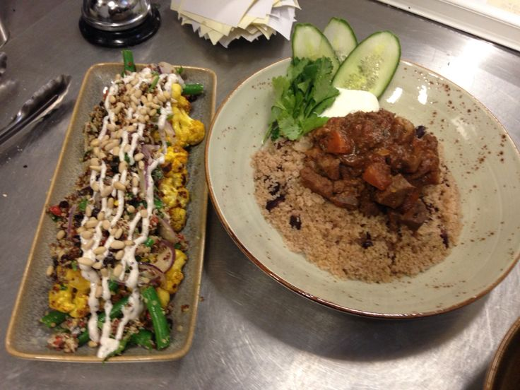 Mountain Goat Curry with Couscous and Peas... Roasted Cauliflower and Quinoa Salad...
