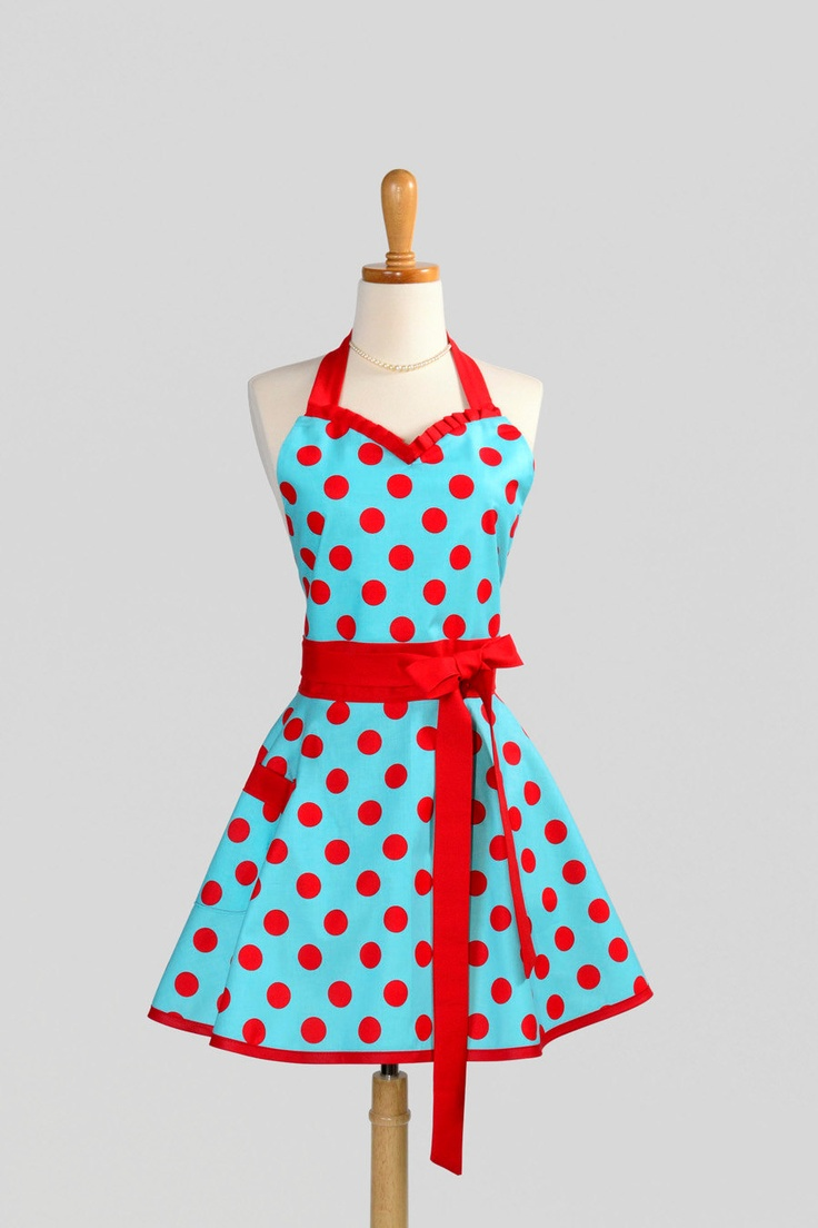 sweetheart retro apron handmade sexy flirty womens apron in teal and red pinup dots full kitchen apron - Cooking Aprons