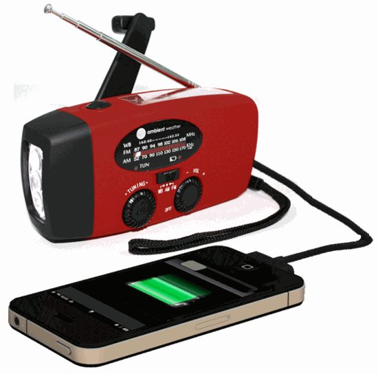 Ambient Weather WR-089 Emergency Solar Hand Crank AM/FM/NOAA Weather Radio, Flashlight, Smart Phone Charger with Cables