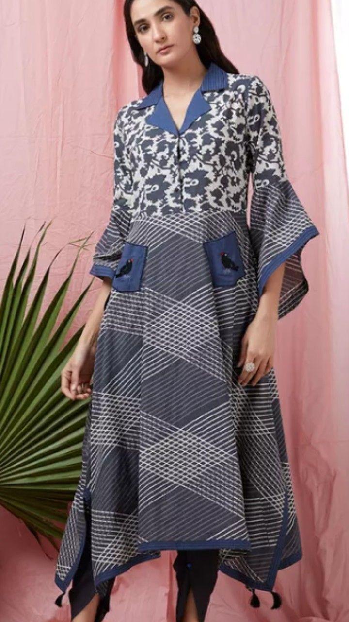 Beautiful Printed Cotton Kurti With Shawl Collar And Asymetric Bell Sleeves Kurti Neck Designs Collar Kurti Design Fashion Design Clothes