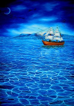 Imaginary Realism, Painting, fantasy, imagination, sailboat, sails, sailing, seascape, dreamscape, night, nightscape, nautical, marine, sea, ocean, water, shimmering, light, moon, moonlight, blue, art, artwork, fine art, oil painting