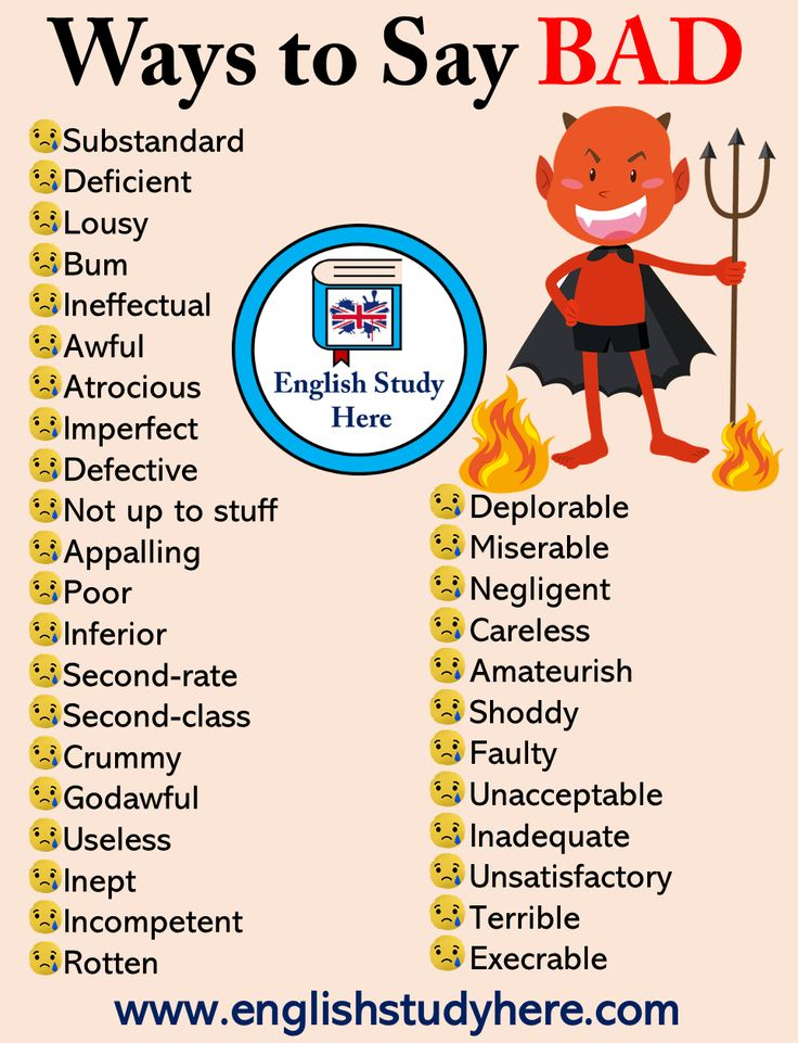 33 Methods to Say Unhealthy in English – English Research Right here