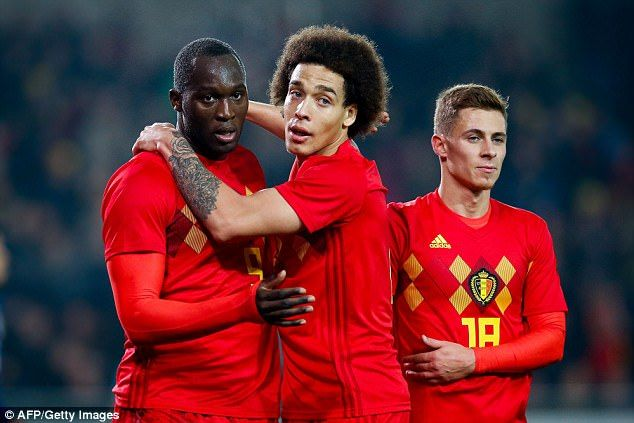 Axel Witsel celebrates with Lukaku as he becomes Belgium's all-time top goalscorer