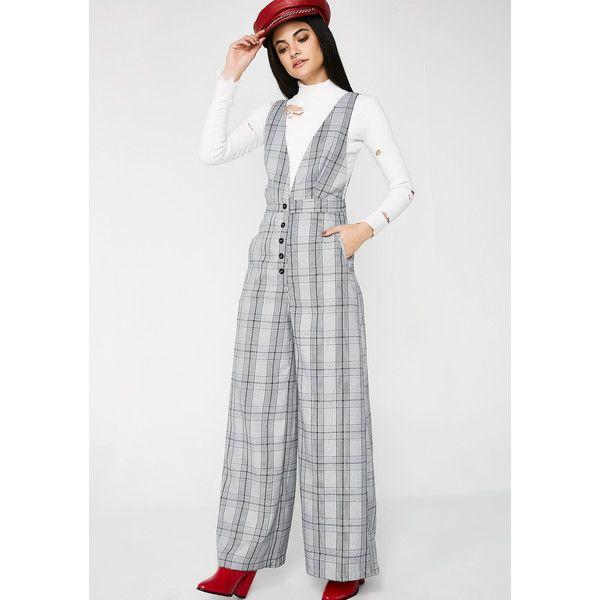 Gray Plaid Jumpsuit ($42) ❤ liked on Polyvore featuring jumpsuits, grey, grey jumpsuit, wide leg jumpsuit, jump suit, gray jumpsuit and deep v neck jumpsuit