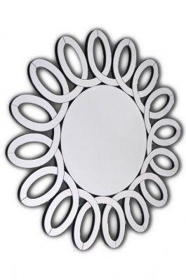 Lustro Isotta  Piękne okrągłe lustro w ażurowej ramie wyklejonej wyciętymi, fazowanymi kawałkami lustra. Rama w kolorze czarnym. Doskonale pasuje do wnętrz nowoczesnych i stylowych jako lustro dekoracyjne, a do tego w pełni funkcjonalne.