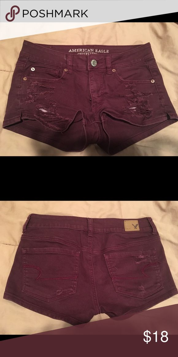 AE maroon shorts Distressed shorts, fit a little small for a 4. American Eagle Outfitters Shorts Skorts
