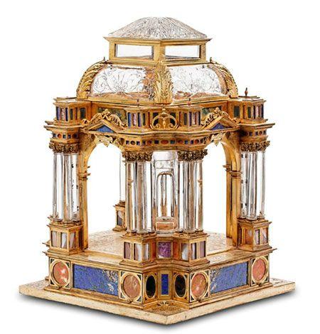 Templete relicario Taller florentino (Último cuarto s.XVI) Cristal de roca, piedras duras y plata. Colecciones Reales de España
