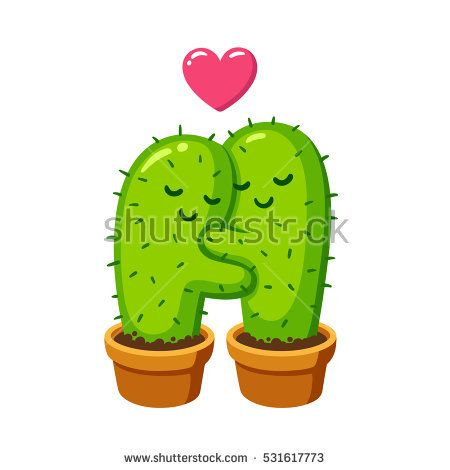 Cactus hug vector drawing. Cute cartoon cactus couple in love, funny Valentine's day illustration.