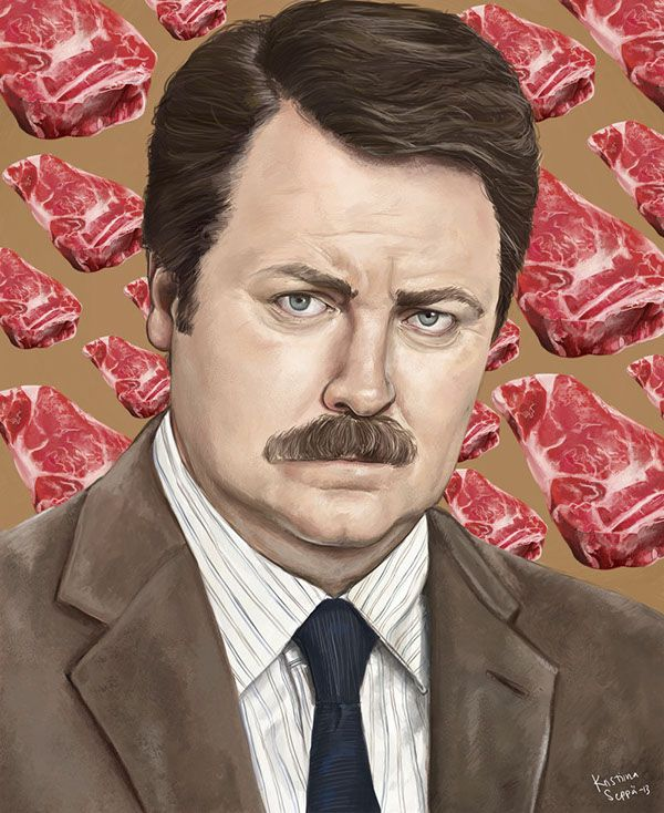 Ron Swanson / painted in 2013 Parks and Recreation © Greg Daniels, Michael Schur / NBC Actor Nick Offerman