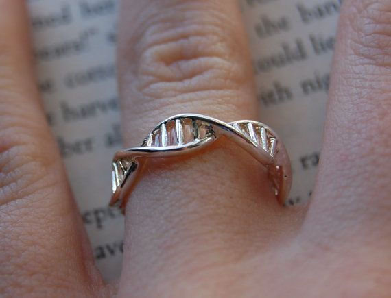 Gorgeous Minimalist DNA Infinity Helix Ring!  Beautiful, Simple and Elegant.  Now you can carry the key to all life and human existence around your