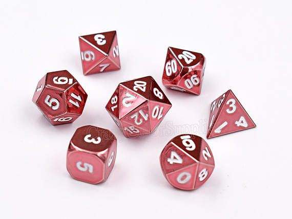 Pink Dice Set-Dungeons and Dragons Dice Set-dnd dice-Metal Dice-Polyhedral Dice Set-rpg dice set-d&d dice-d20 RPG Role Playing Games-7 dice  These dice are made from solid metal , well crafted and each came with a very nice weight , it have fantastic quality with beautiful price . They are always well balanced, well made, sooooo satisfying to roll , It is a joy to use , you would love it definitely .   *****************^_^***************  ● ● ●Qty: 1 set ● ● ●Set includes 1 of the followi...