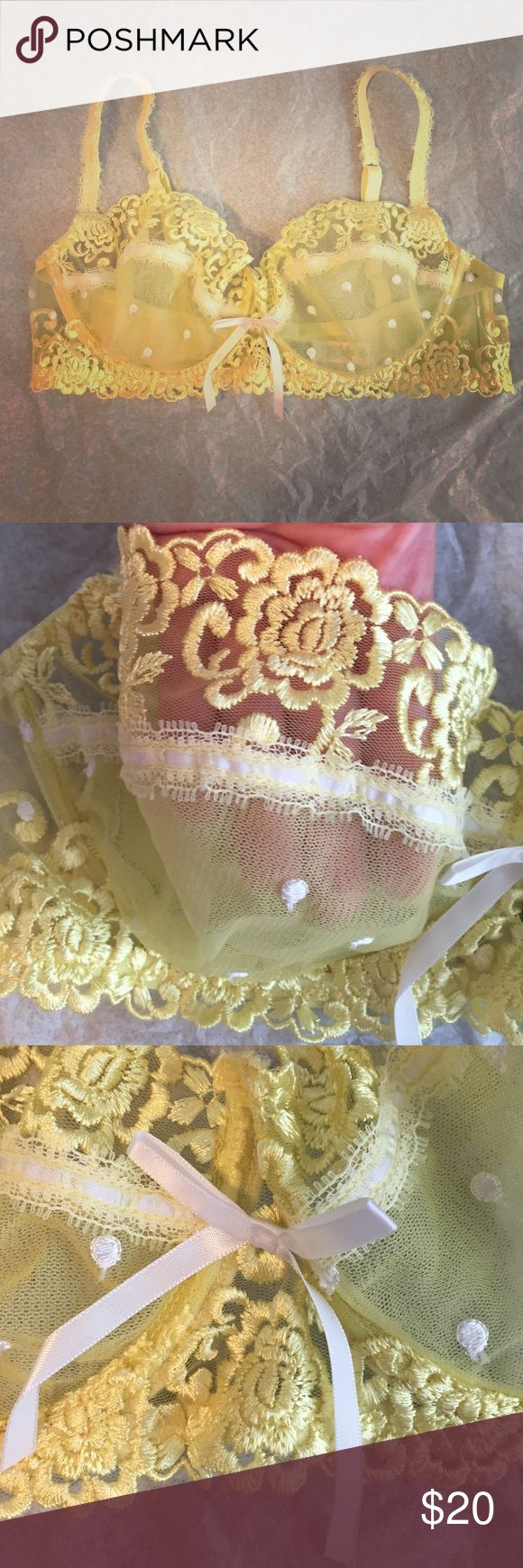 Sale Pretty yellow bra Unlined, underwire lace bra with adorable polka dots. Only worn once, as it's just not my proper size. Like new condition! Reasonable offers accepted. Would be great in a bundle! Intimates & Sleepwear Bras