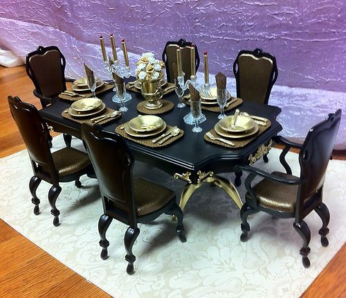 OOAK Barbie Formal 1 6 Scale Furniture Dining Room Table House Accessories   eBay