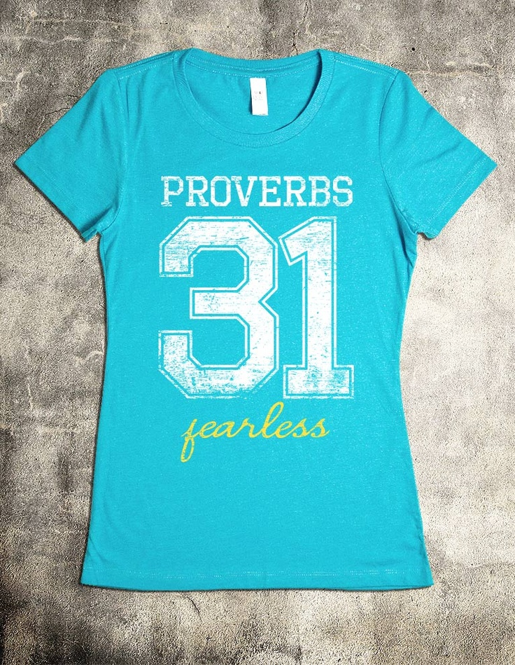 """""""Proverbs 31 T-Shirt"""" V-Neck Christian Shirt - """"She is clothed with strength and dignity; she can laugh at the days to come."""" - Proverbs 31:25"""