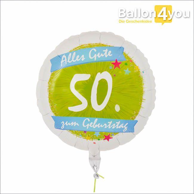 Ballongruß zum 50. Geburtstag  Ein 50. Geburtstag soll gefeiert werden und Sie sind noch auf der Suche nach einer tollen Geschenkidee? Dann könnte dieser große Rundballon mit einer dicken 50 den Anfang machen. Die heliumgefüllte Überraschung können Sie nach Wunsch mit einem wasserfesten Stift bemalen. Dadurch können sich alle Gratulanten verewigen und gemeinsam ihre Glückwünsche zum Geburtstag überreichen.