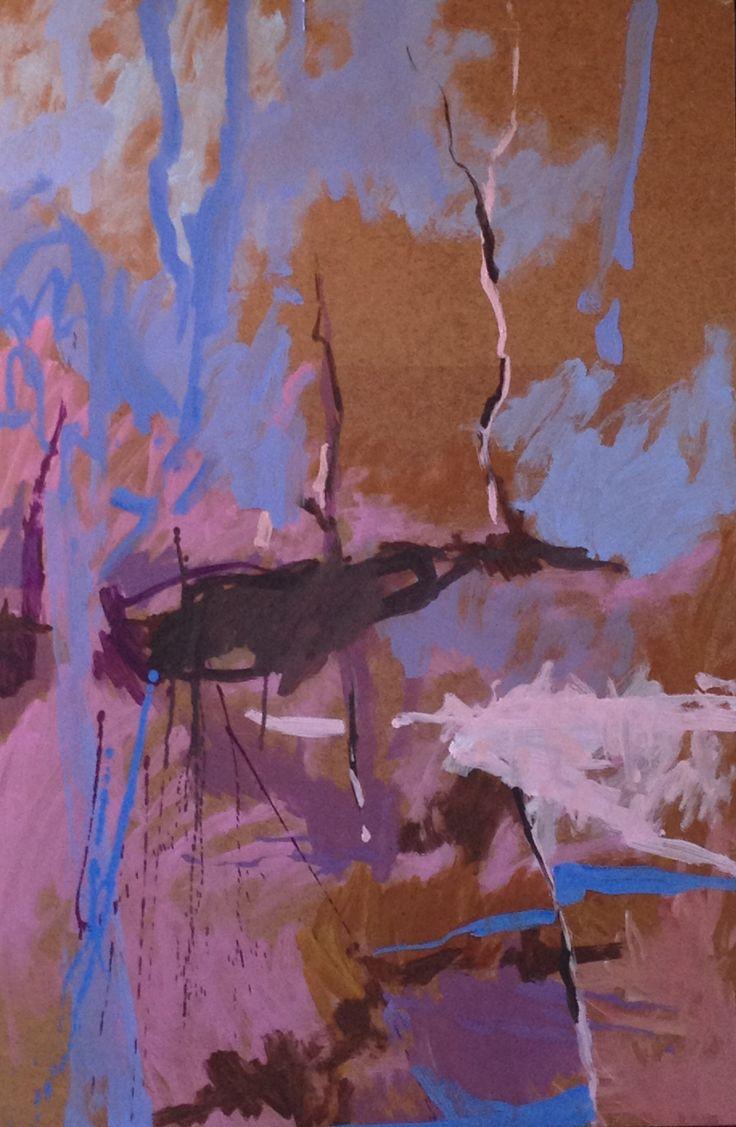 """ Waterfall memory ""Oil on board by Matilda Dumas"