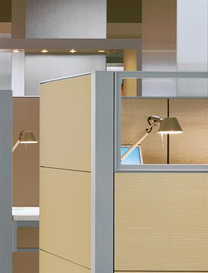 """Compose Panel-Based Wood laminate on the panel walls will provide a more organic, lived in feel with earthy inspirations and good textures. It will move us away from the """"Office Space"""" feel of our current cubicles."""
