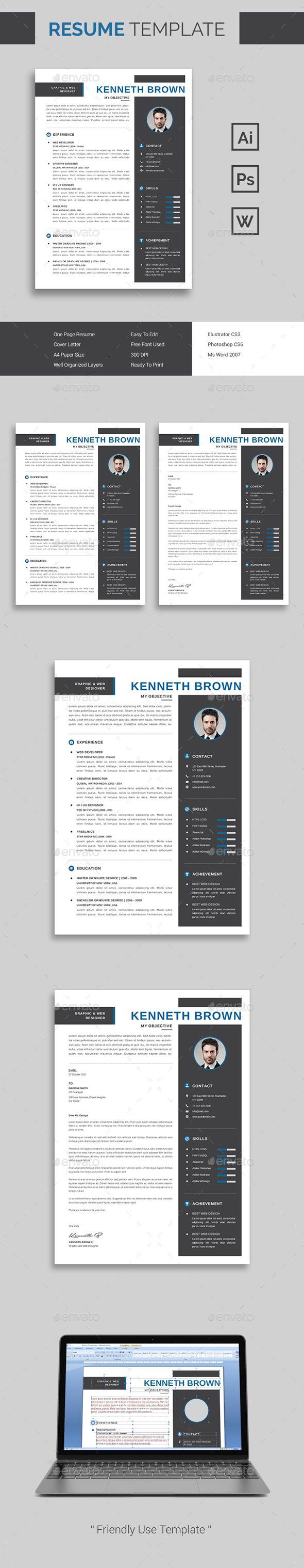 Resume Template | CV Template PSD, AI Illustrator, DOCX & DOC