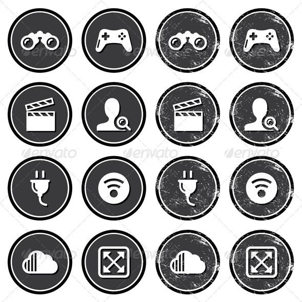 Retro Web Navigation Icons Set #GraphicRiver Vintage dark badges – internet, web page icons FEATURES: 100% Vector Shapes All groups have names All elements are easy to modify – you can change coulours, size Pack include version AI, EPS, JPG Created: 26March13 GraphicsFilesIncluded: JPGImage #VectorEPS #AIIllustrator Layered: No MinimumAdobeCSVersion: CS Tags: binoculars #business #cinema #clipboard #company #computer #controller #film #game #icons #man #menu #movie #navigate #navigation #psp…