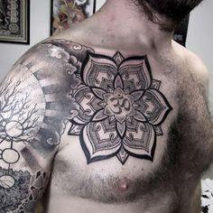 http://tattooideas247.com/om-mantra-mandala/ Om Mantra Mandala #Bg, #ChestTattoo, #Floral, #Mandala, #Mantra, #Om