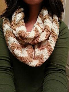 Chevron Infinity Scarf by Justine Vo #crochet #pattern #free