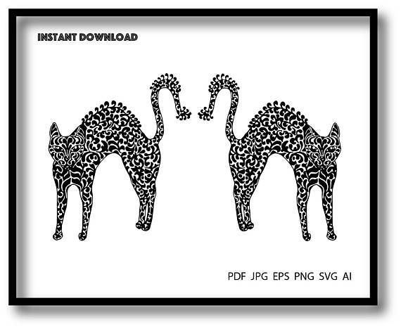 black white cat illustration vector drawing instant download for printing abstract art pdf jpg eps png