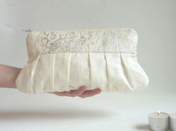 Silver wedding clutch in linen by maplemist