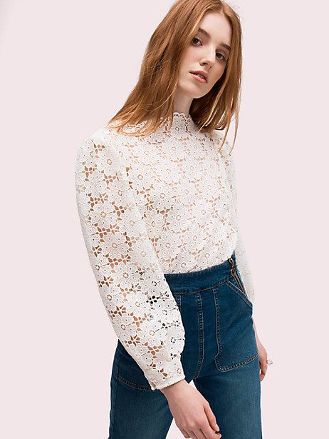 a9b41b4a4 Kate Spade spade lace blouse in 2019 | Clothes! Six | Lace, Blouse ...