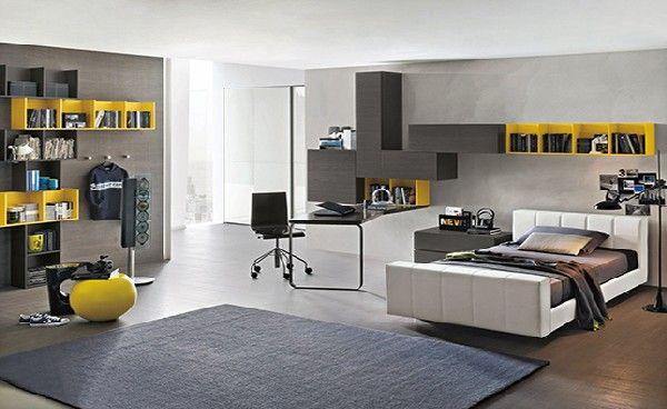 chambre ado garçon en gris et jaune