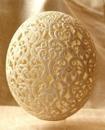 easter eggs (A Hungarian artist , Csuhaj Tunde was born in 1954, she graduated studies in ceramics at the University of the Arts , Pecs, Hungary. Since 1990, she has decorated geese, swan, emu, rhea and ostrich eggs and has produced astonishing Easter eggs. Her techniques are mainly etching, drilling and painting.)