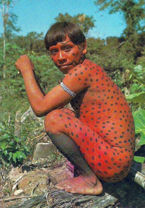 Brazil  Uaika Indian Man Body Painting