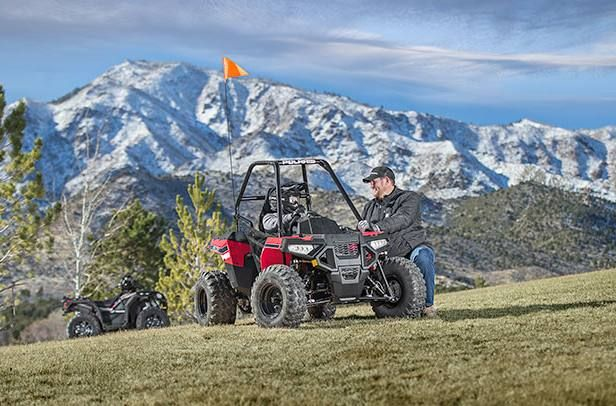 Youth models have special age restrictions; the Polaris RZR 170 and ACE 150 are intended for operators age 10 and older, 50-cc ATV models are intended for operators ages 6 and over, 110-cc ATV models are intended for operators ages 10 and older, and the 200-cc ATV is intended for operators age 14 and older. #ACE150EFI #Polaris #Industries #ATV