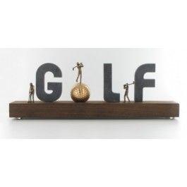 Golf tablet bronzen beeld