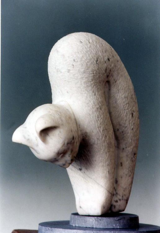 Sculpture,  40 x 30 cm ©1999 par F De M -  Sculpture, Pierre, carrare marbre taille directe sculpture stone marble cat