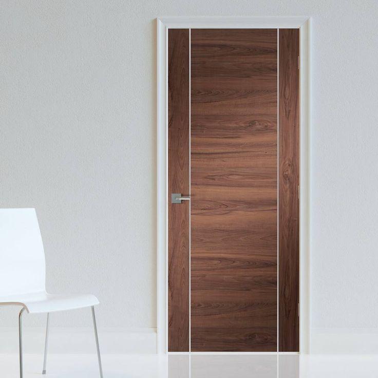 exterior flush doors manufacturers. bespoke forli walnut flush door with aluminium inlay - prefinished exterior doors manufacturers