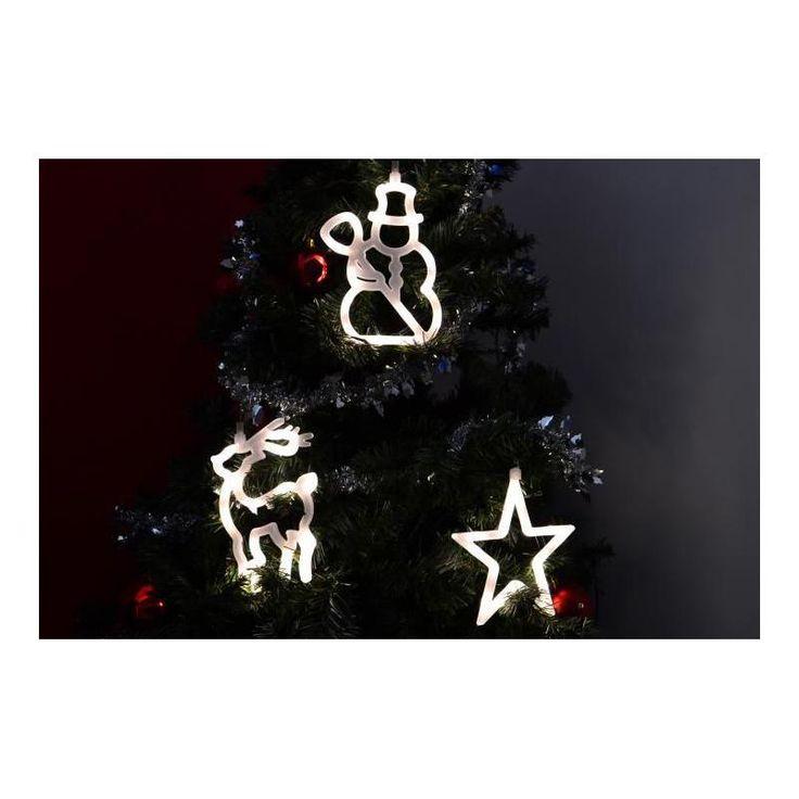 Vánoční interiérová dekorace na okno - hvězda, sněhulák, sob - LED, na baterie - www.guge.cz