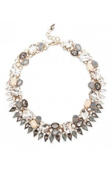 Grey crystal & glass stone statement necklace