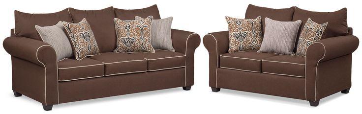 Carla Queen Innerspring Sleeper Sofa And Loveseat Set - Chocolate