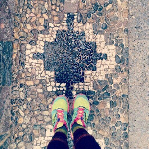 Inca cross.  A street is full of this symbol.