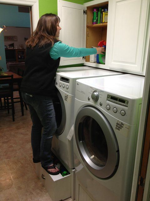 A buddy built his own washer/dryer pedestals that doubles as a step stool.
